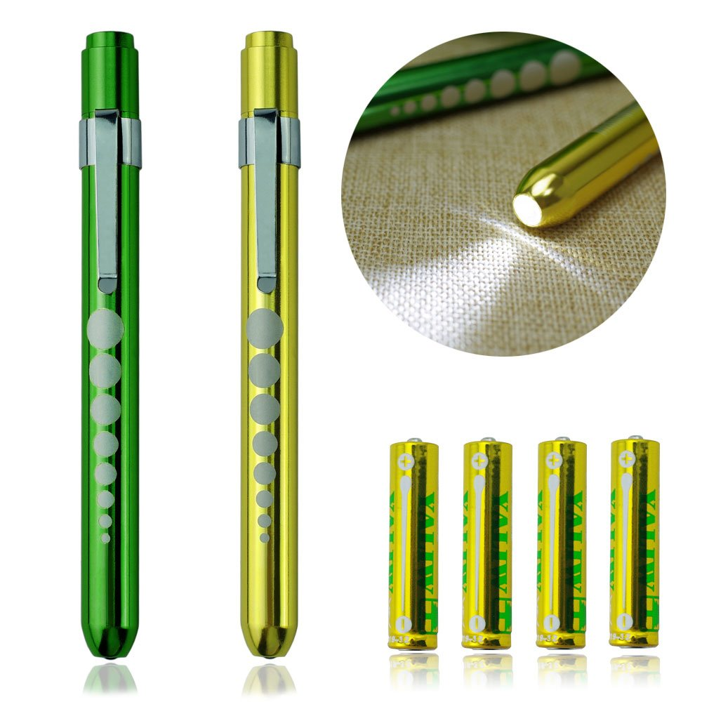 Zitrades LED Penlight Medical Reusable Healthcare Pen Light with Pupil Gauge for Nurses Doctors White 2PCS