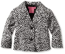 Isaac Mizrahi Baby-Girls Infant Leopard Print Velour Jacket, Black/White, 12 Months