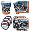 Motorcycle Biker Shop Birthday Party Supplies Set Plates