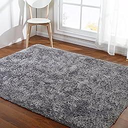 Hoomy Silver Gray Floor Mats for Home Solid Fluffy Floor Rugs for Living Room Nonslip Shaggy Floor Mats for Kids Play 3X6.5