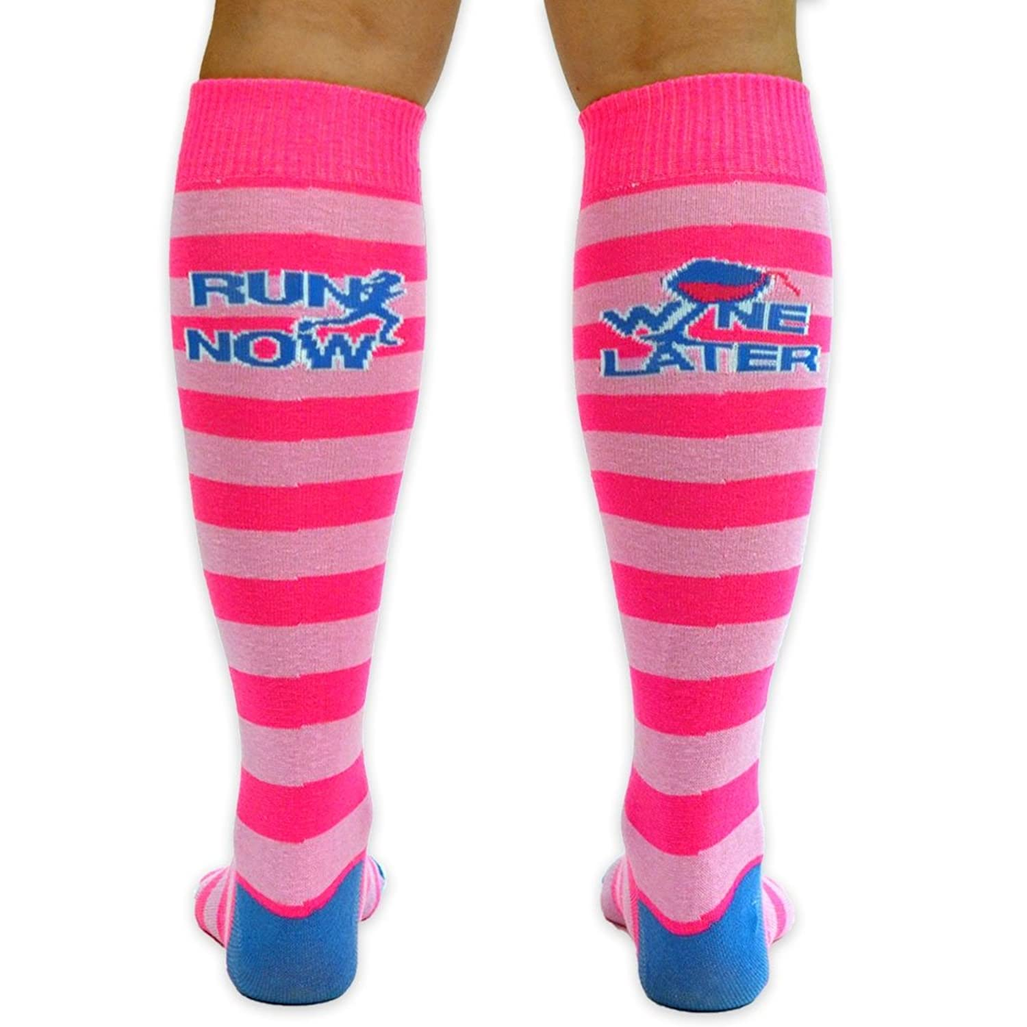 Yakety Yak! Knee Socks - Run Now Wine Later (Pink Stripes/Teal)