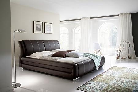 Meise Möbel 1092-10-5000 Polsterbett Bolzano mit Kunstlederbezugbezug, Nähte beige, Liegefläche circa 180 x 200 cm, braun