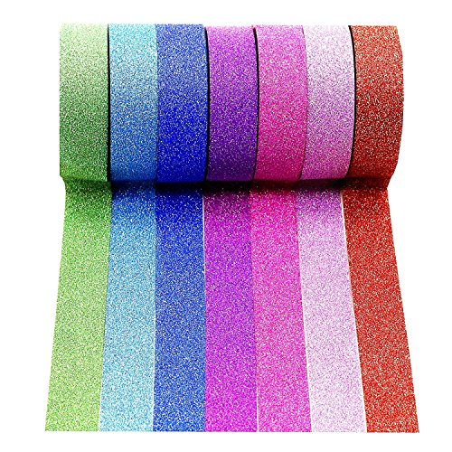 Wise Bird Gift Decorate Rainbow Glitter Sparkle Washi Masking Sticky Adhesive DIY Tape, School Class Office Birthday Notebook Arts & Crafts Gift Wrap Glitter Tape, 32ft/roll, Set of 7-G01 (Sticky Paper Masking Tape compare prices)