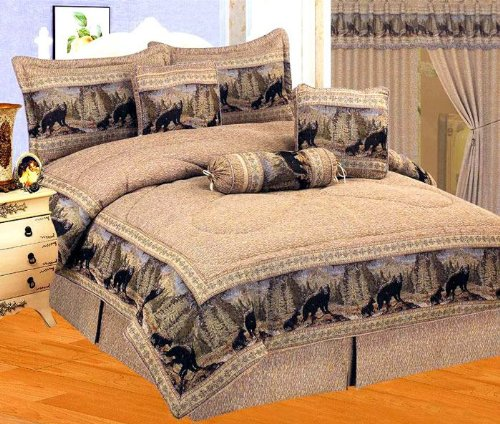 7 Pieces Wild Black Bear Comforter Set Cabin Bed-In-A-Bag Cal King Size Bedding front-956803