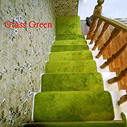 13pcs Home Decor Soft Rectangle Stair Treads Carpet Floral Mat Indoor Rug 4 Size Color:Grass Green Size:2060cm