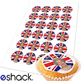 #7: 24 x Queen Elizabeth Diamond Jubilee Edible Cake Toppers (Street Party Cupcake Topper by eShack)