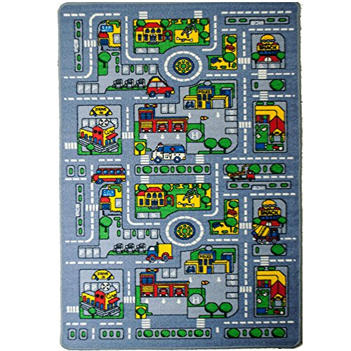"Kids Rug City MAP Area Rug 3'3"" X 4'9"" Non Slip Gel Backing Fun Kid's City Race Track and Resting Area"