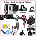 GoPro HERO3+: Black Edition & Professional Outdoor Adventure Package, Includes Gopro Headstrap and Mount Harness, Gripster Flexible Tripod, Wireless Remote, 2x Replacement Batteries, Rapid Charger With Car Adapter, Suction Cup Mount For Go Pro, 2X 64GB MIcro SD Memory Card, SD Adapter & Storage Wallet, Premium Travel Storage Case, Lens Cleaning Pen, Lens Cleaning Kit and CS Microfiber Cloth.