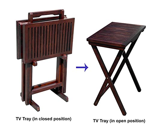 Home Accents Mahogany Tv Tray Tables and 1 Stand (Set of 2)