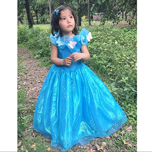 2015 Cinderella dress Ella princess dress costume girl cosplay butterfly