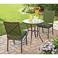 3 Piece Outdoor Bistro Set, Green, Seats 2. This Bistro Set Is a Wonderful Addition for Your Patio Furniture Collection. This Bistro Table Set Features a Durable, Powder Coated Steel Frame. This Patio Bistro Set Adds Style to Your Home.