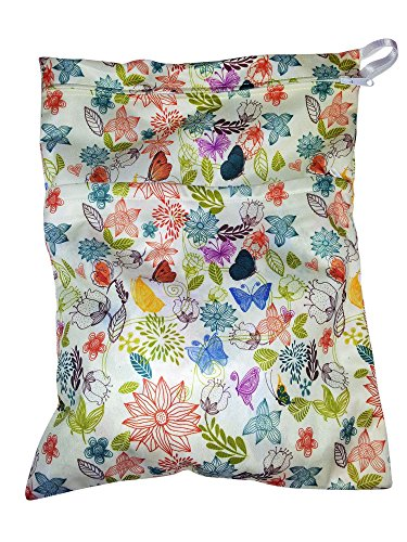 Heart Felt Diaper Wet Bag with Floral Print Two Compartments Mean Storage for Clean & Dirty Diapers, Incontinence Underwear & Wet Wipes Waterproof & Machine Washable