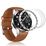 HATALKIN Compatible with Huawei Watch GT 2 46mm Screen Protector,3 Pack HD Tempered Glass Film with one Bezel Protective Ring Stainless Steel Smartwatch Adhesive Cover for Huawei Watch GT 2 46mm (Color: Silver)