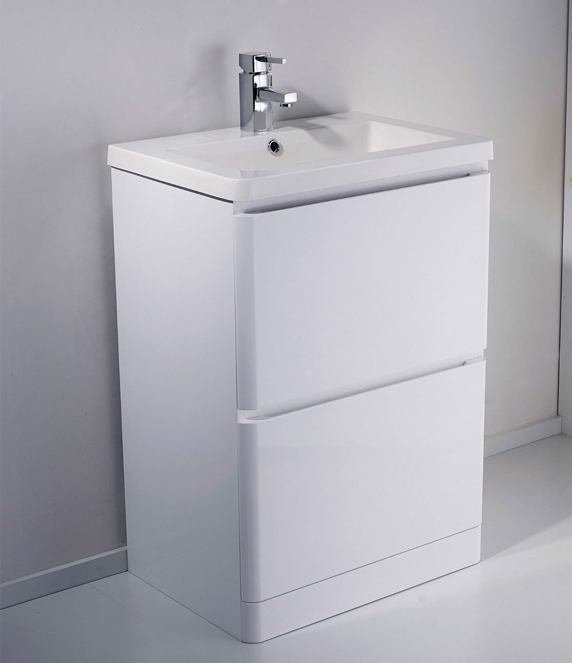 WHITE GLOSS MDF BATHROOM 2 DRAWER CONCEALED HANDLES BASIN VANITY UNIT   600MM       Customer review and more info