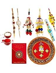 Ethnic Rakhi Designer Floral Pattern Multi-Color Fashionable And Stylish Mauli Thread And Beads Rakhi And Traditional... - B01IIME4IK