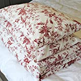 French Country 100% Full/queen Cotton Floral Pattern Red White Background Bedding Set with One Duvet Cover and 2 Pillowcases 200 Thread Count Premium Quality
