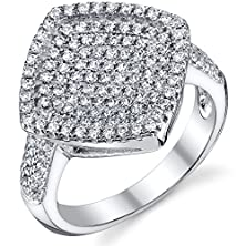 buy Dazzling Micro Pave Cz Sterling Silver Rhodium Nickel Finish Ring Size 8