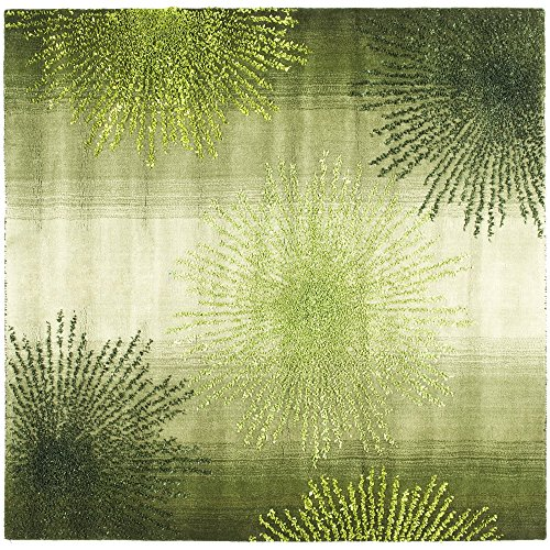 Safavieh Soho Collection SOH712G Handmade Green and Multi Wool Square Area Rug, 6 feet Square (6' Square)