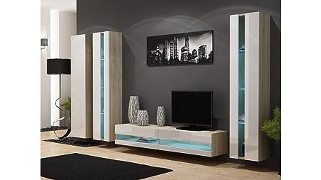 BMF VIGO NEW VI WALL UNIT IN MATT & HIGH GLOSS TV CABINET - SONOMA