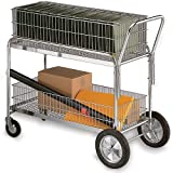"Mail Cart - 36X17"" Baskets - 5"" Front, 10"" Rear Casters"