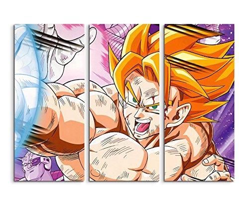 Telaio Quadro su tela 3teilig Dragon Ball Z Super Saiyan Goku 3x 90x 40cm (totale 120x 90cm) versione bella stampata su vera tela come quadro su telaio da parete