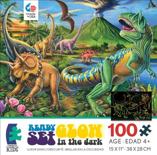 Ceaco Ready Set Glow Dino Volcano Jigsaw Puzzle