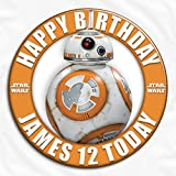 Star Wars The Force Awakens BB-8 Robot Birthday Personalised Pin Badge Ideal for Birthdays, Christenings, Holy Communions, Baptisms, Naming Ceremonies, Baby Showers, Weddings, Bridal Hen Parties, Anniversaries (5.8cm)