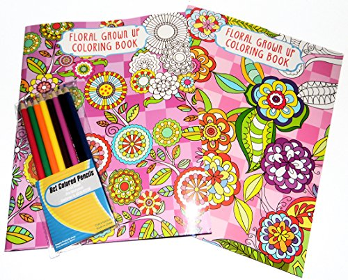 Adult Coloring Books Set of 2 with Colored Pencils Grown up Floral Coloring Books (Book For 16 Year Old Girl compare prices)