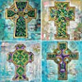 """CoasterStone AS9929 Absorbent Coasters, 4-1/4-Inch, """"Celtic Crosses II"""", Set of 4"""
