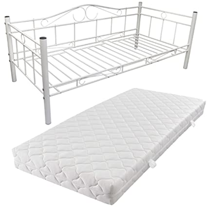 vidaXL Metallbett Einzelbett Tagesbett Metall Bett Bettgestell 90x200 Matratze Weiß