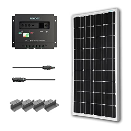 Renogy 100W Mono Starter Kit: 100W Solar Panel+20' Solar Cable+30A PWM Charge Controller+Z Bracket Mounts