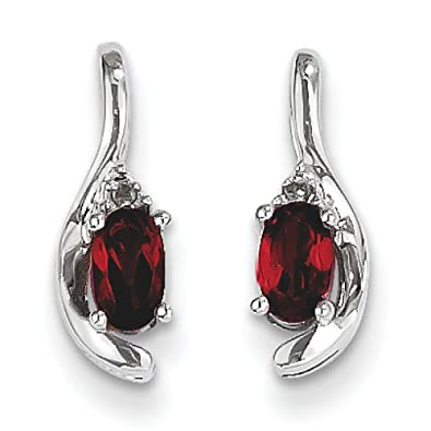 14ct White Gold Genuine Garnet Rough Diamond Earrings