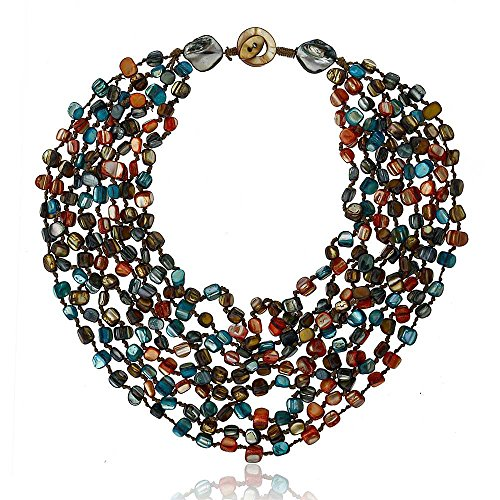 Purple Orange Blue Multi-Color Genuine Cultured Freshwater Pearls  20 inch Necklace