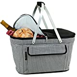 Picnic at Ascot Large Family Size Insulated Folding Collapsible Picnic Basket Cooler with Sewn in Frame - Houndstooth