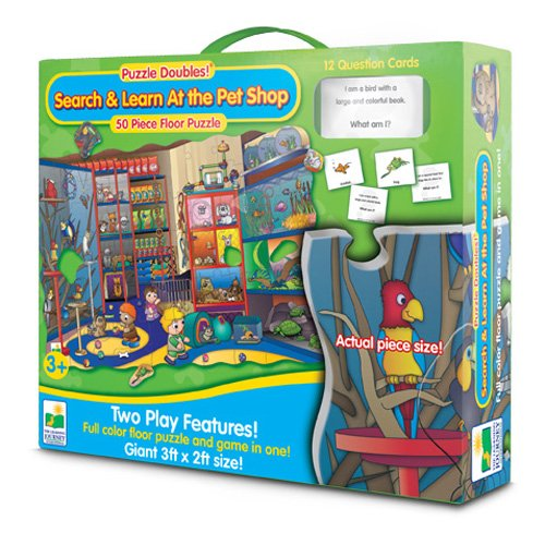 61AX8ZuAF9L Cheap Price The Learning Journey Puzzle Doubles Search and Learn At the Pet Shop Wooden Puzzle