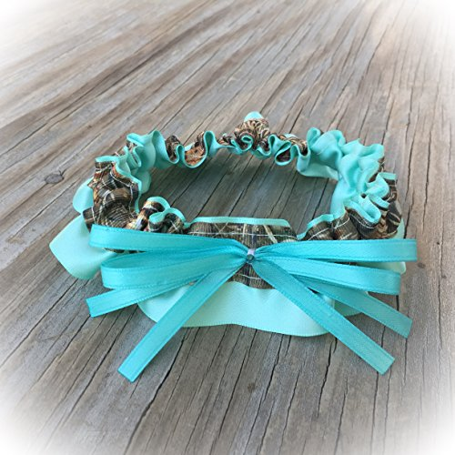 SEXY Realtree Camouflage & Aqua Blue Satin Bling Bridal Wedding Garter Rhinestone Camo Keepsake Or Garter Set