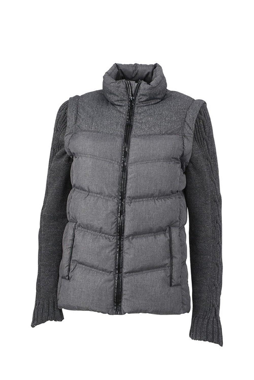 JN1067 Ladies' Two-In-One Jacket With Knitted Sleeves Topmodische Winterjacke mit abzippbaren Strickärmeln