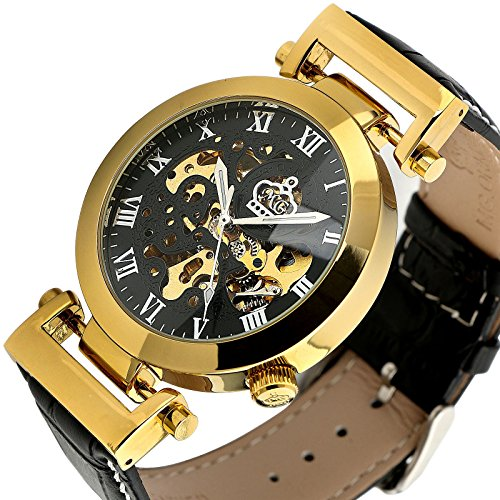 Ess Black Gold Golden Case Automatic Mechanical Black Leather Watch Mens Skeleton Luxury Classic Wm337