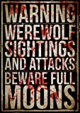Werewolf Poster, horror poster, wall art, zombie, scary poster, decor, gift, bedroom poster, vampire, A3 Poster, unframed