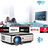 Bluetooth WiFi Projector HDMI LED LCD Home Theater Projector 4200 Lumen Wireless Android Support 1080P Airplay Miracast HD Movie Gaming for Smartphone Fire TV Stick DVD Player PS4 Wii TV Box PC Laptop (Color: Projector 4200 Lumen-WiFi-Bluetooth)