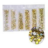 Jollin 3456pcs Flatback Rhinestones Glass Charms Diamantes Gems Stones for Nail Art 6 Size ss4~ss12 Lemon AB (Color: Lemon AB)