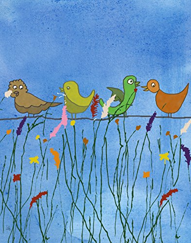 Green Leaf Art Birds and Flowers 2 Canvas Art