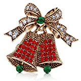 BERRICLE Vintage Inspired Christmas Bells in Crystal Brooch Pin
