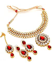 JewarTraditional Bridal Gold Plated Kundan Ad Latest Necklace Set For Women 6650