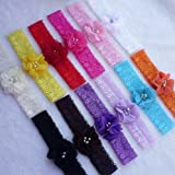 Dealzip Inc® 12 PCS Headbands Hair Accessories for Baby Infant Girls Pearls Dianmonds Embellished Chiffon Flower Lace Band Design
