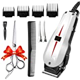 Rantizon Mains Hair Clipper Set Professional Hair Cutting Kit for Men Skin-Friendly Blades Electric Hair Cutting Machine Precision Trimmer Multi Grooming Barber Kit with Attachments Free Gift Scissors