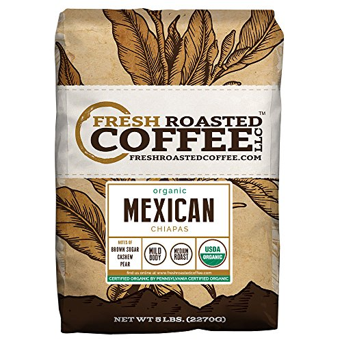 Mexican Chiapas Organic Coffee, Whole Bean, Fresh Roasted Coffee LLC (5 lb.) (Mexican Coffee compare prices)