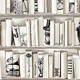 Papier peint biblioth que ivoire trompe lil rouleau 7 68 m bric - Papier peint imitation bibliotheque ...