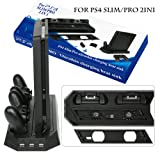 Anksono Vertical Stand with Cooling Fan for PS4 Slim / Pro, Controllers Charging Station with Dual Charger Ports and USB HUB for PlayStation 4 Slim / Pro Console Dualshock 4 ( Not for Regular PS4)