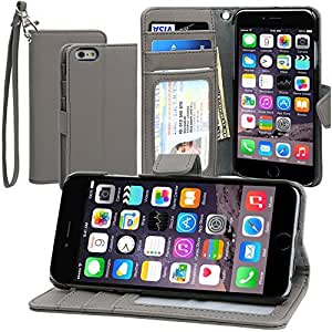 Evecase iPhone 6S Case, Book Style Wallet Folio Leather Case with Credit Card ID Pockets, Stand & Strap for Apple iPhone 6S / 6 4.7'' Smartphone (AT&T, T-Mobile, Sprint, Verizon) - Gray